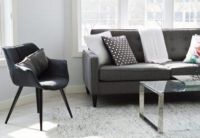 wnętrze domu, meble, dywan, szaro-białe kolory